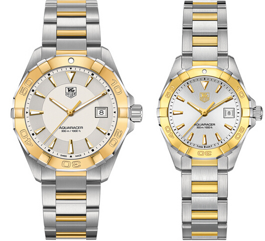 TAG Heuer Aquaracer 300m Gold quartz steel automatic watch (40.5mm & 27mm)