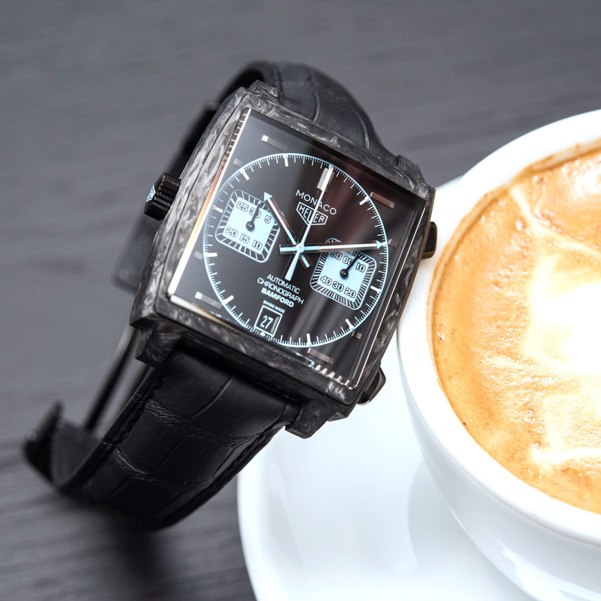 Review the TAG Heuer Monaco Chronograph 39mm Forged Carbon Bamford Edition Replica
